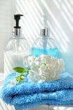 Lotionen, Tuch und Blumen Stockbild