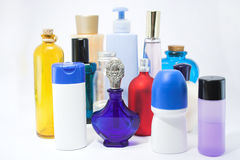 Lotions and potions. Bottles and jars of beauty aids Royalty Free Stock Image