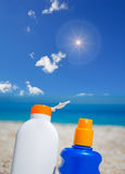 Lotions under the sun Royalty Free Stock Image