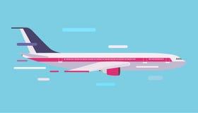 Lotnictwo cywilne podróży pasażerski lotniczy płaski wektor Zdjęcia Royalty Free