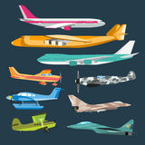 Lotnictwo cywilne podróży passanger lotniczy płaski wektor Obrazy Royalty Free