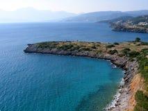Lotnicza fotografia, Amoudara plaża, Agios Nikolaos, Crete, Grecja Obrazy Stock