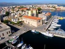 Lotnicza fotografia, Chania miasto, stary miasteczko, Crete, Grecja Obrazy Stock