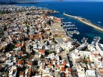 Lotnicza fotografia, Chania miasto, stary miasteczko, Crete, Grecja Fotografia Stock