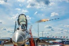 Lotnicza parada Moskwa Rosja zdjęcia stock