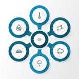 Lotnicze kontur ikony Ustawiać Kolekcja wiatr, ulewa, temperatura I Inni elementy, Także Zawiera symbole Tak jak wiatr Fotografia Stock