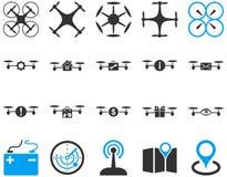 Lotnicze trutnia i quadcopter narzędziowe ikony Obraz Stock