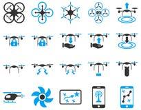 Lotnicze trutnia i quadcopter narzędziowe ikony Zdjęcia Stock