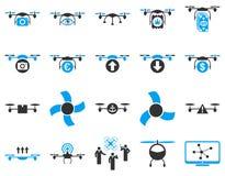 Lotnicze trutnia i quadcopter narzędziowe ikony Obrazy Stock