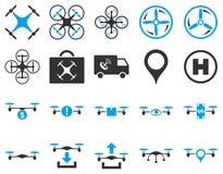 Lotnicze trutnia i quadcopter narzędziowe ikony Fotografia Stock