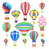 Lotniczego balonu kreskówki wektorowy balon, aerostat z koszykowym lataniem w locie lub ilustracja wektor