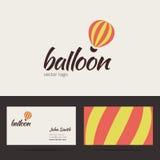 Lotniczego balonu loga szablon z wizytówką Fotografia Stock