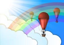 Lotniczego balonu tęczy słońca chmury ilustracja wektor