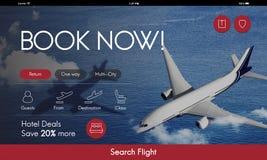 Lotniczego bileta lota rezerwaci pojęcie Zdjęcia Stock