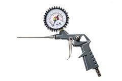 Lotniczego kompresoru pistolet z manometrem odizolowywającym na białym tle Fotografia Stock