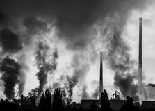 lotniczego tła błękitny fabryczny zanieczyszczenie Zdjęcie Royalty Free