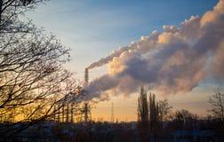 lotniczego tła błękitny fabryczny zanieczyszczenie Obrazy Royalty Free