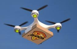 Lotniczego trutnia przewożenia pizzy pojedynczy pudełko Fotografia Stock