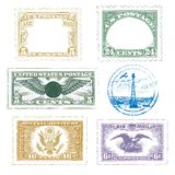 lotniczej ikony poczta ustalony znaczków rocznik Obrazy Stock