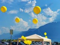 Lotniczy ballons na Grande miejscu obciosują przy Vevey Fotografia Royalty Free