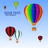 Lotniczy ballons z chmurami odizolowywać na błękitnym tle Zdjęcia Royalty Free