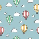 lotniczy balon chmurnieje gorącego bezszwowy wzoru Wektorowa ręka rysująca doodle kreskówka ilustracja wektor