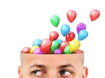 Lotniczy balony lata od ciącej głowy odizolowywającej obrazy royalty free