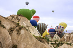 Lotniczy balony w Cappadocia, Turcja, Goreme Zdjęcia Stock