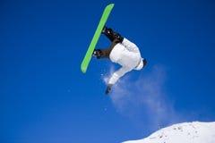 lotniczy duży skoku snowboarder zabranie Fotografia Royalty Free