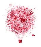 Lotniczy miłości pojęcie, balon z sercami dla twój Zdjęcia Stock