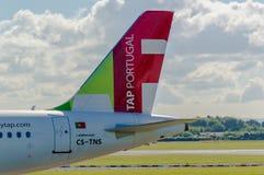 Lotniczy Portugalia Aerobus A320 ogon (KRANOWY) Zdjęcie Royalty Free