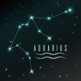 Lotniczy symbol Aquarius zodiaka znak, horoskop, wektorowa sztuka i ilustracja, Zdjęcie Stock