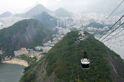 Lotniczy tramwaj nad Rio De Janeiro, Brazylia. Zdjęcia Royalty Free