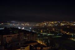 Lotniczy widok nocy miasto Lleida, Hiszpania Zdjęcie Stock