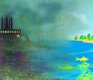 Lotniczy zanieczyszczanie fabryki kominy Obrazy Royalty Free