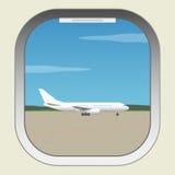 Lotnisko samolotu Barcelona iluminatora Spain widok okno royalty ilustracja