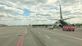 Lotnisko widok z samolotu zabranie zbiory