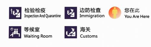 Lotniskowa imigracja i zwyczaje podpisujemy przy Porcelanowym lotniskiem zdjęcie royalty free