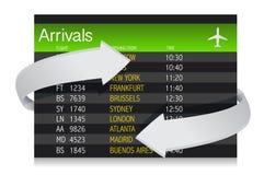 Lotniskowa przyjazd deska z strzała pokazuje zmiany Obrazy Stock