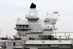 Lotniskowiec w porcie Zdjęcia Royalty Free
