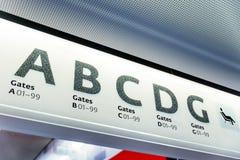 Lotniskowy brama znak Obrazy Stock