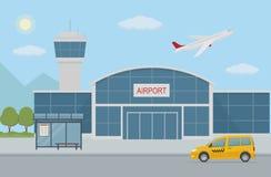 Lotniskowy budynek, taxi taksówka i autobusowa przerwa, Zdjęcie Stock