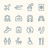 Lotniskowy ikona set Obrazy Royalty Free