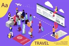 Lotniskowy isometric podróży pojęcie z przyjęciem i paszportowym czeka biurkiem czeka salę, kontrola Ilustracja dla strony intern ilustracji