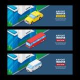 Lotniskowy przeniesienie, wektorowa isometric 3D ilustracja Horyzontalny sztandar, ulotka szablon Taxi, wahadłowa autobusu podróż ilustracji