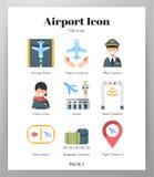 Lotniskowych ikon płaska paczka ilustracji