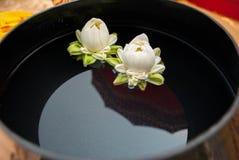 Loto bianco sulla ciotola del monaco Fotografia Stock