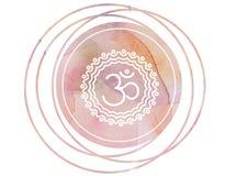 Loto circolare di simbolo del OM Aum della mandala dell'acquerello Fotografia Stock