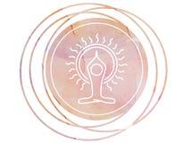 Loto circolare di simbolo di meditazione della mandala dell'acquerello Fotografie Stock Libere da Diritti