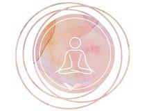 Loto circolare di simbolo di meditazione della mandala dell'acquerello Immagine Stock